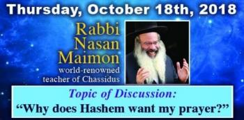 Thursday: Dinner and Discussion with renown teacher of Chasidus Rabbi Nasan Maimon
