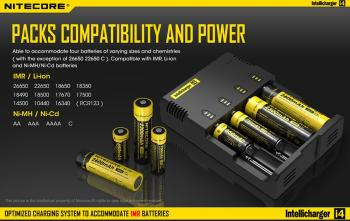 Original Nitecore Battery Charger I4., for 4 Batteries, Phone:  054-6463730
