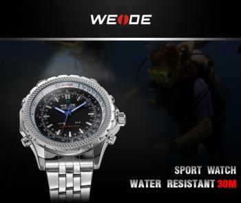 WEIDE Fashion Casual Mens Watch Top Brand Luxury Quartz Digital Watch Led Men Army Military,Box NEW