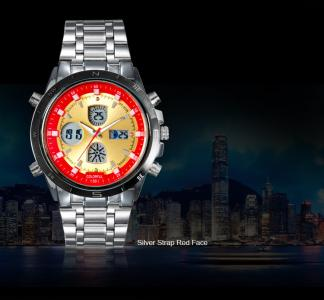Luxury Watch Stainless Steel Men Sports Watches Dual Time Quartz Analog Digital Watch Colorful LED