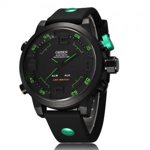 Fashion Watch Men Ohsen Style 4 Buttons Multifunction Dual Time Men Band Dive Watch Wriswattch
