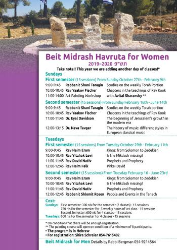 Bet Midrash Havruta for Women in Oz veGaon Every Sunday & Tuesday & Links to Videos of the Lectures
