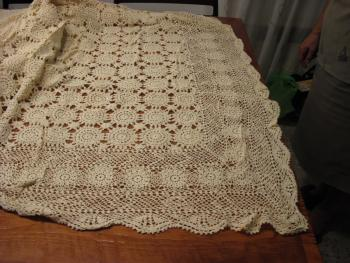 Hand- crocheted  tablecloth, never used,wonderful for  special occasions,160cm x 380 cm