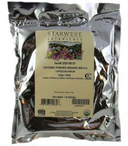 Organic Cayenne pepper from Starwest Botanicals