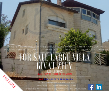 Villa for sale in Classic Givat Zeev