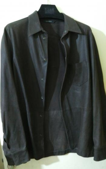 Donna Karen DKNY Mens Leather shirt, brown. Like new