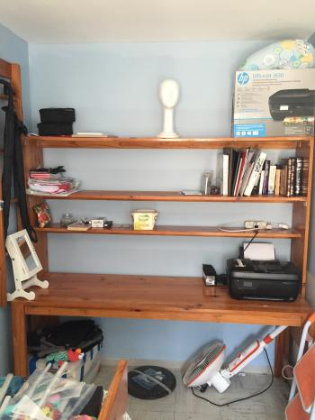 Desk with bookshelf and optional bed