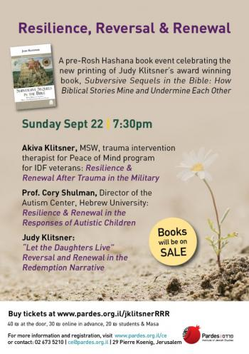 Resilience, Reversal & Renewal, celebrating the publication of Subversive Sequels in the Bible