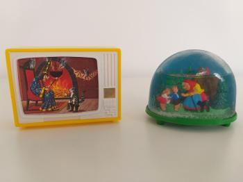 Vintage TV Toy + vintage snow globe