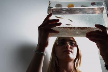 PHOTO: woman scientist with fish tank