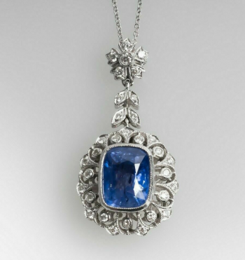 "Pendant with 18"" Chain Necklace Drop in Sapphire & Diamond 14k White Gold Over"