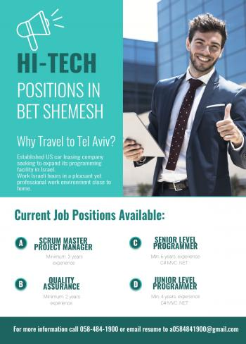 New:  Hi-tech in Bet Shemesh looking to hire!