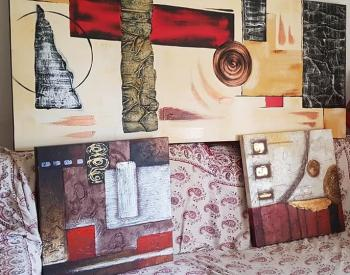 Lot of 3 LARGE Abstract Modern Wall ART Paintings Canvases for Home or Office