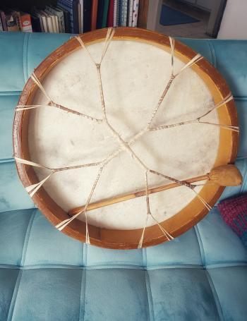 Handmade shaman drum made in Holland
