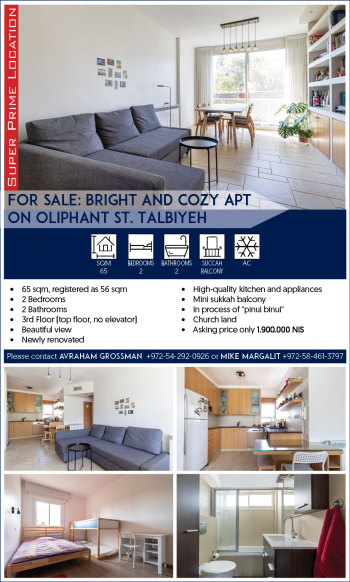 For SALE: BRIGHT and cozy apt on Oliphant st. Talbiyeh