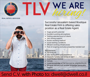 TEL AVIV: We're Hiring Real Estate Agents