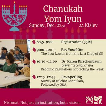 Chanukah Yom Iyun for women at Nishmat: