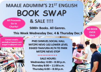 Maale Adumim's 21st Book Swap and Sale is this week