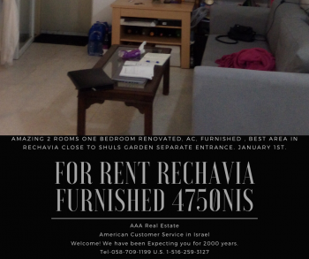 For Rent Amazing 2 rms furnished Rechavia