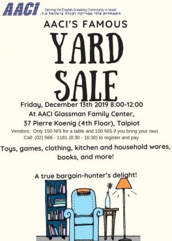 AACI Pre-Chanuka Yard Sale Today!