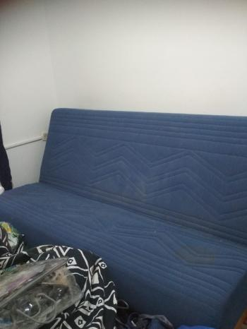 Sofa-bed, opens into a double bed with a bedding case