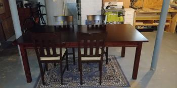 Crate & Barrel Wood Dining Room Table + 4 Chairs