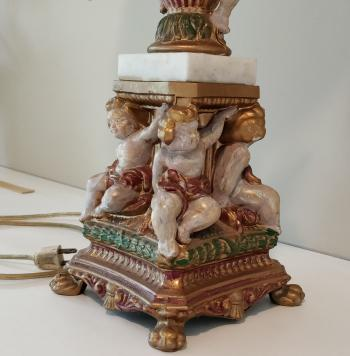 Ornate Brass and Marble Lamp With Baroque Cherub Figures - Colorful