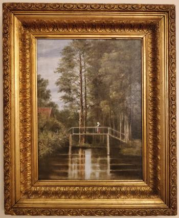 Original Dutch or Danish Oil Painting From Denmark Landscape and Bridge 1800s