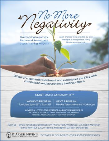 No More Negativity - New Program Starting