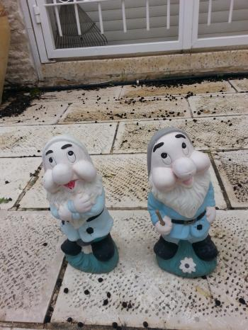 FOR SALE: 2 very cute small garden statues of elves