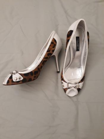 Dolce & Gabbana Animal Print Calf Hair Peep Toe Pumps Size 37 1/2